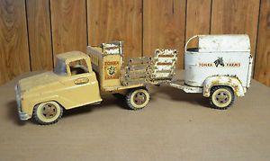 Vintage Tonka Toys Farm Stake Truck Horse Trailer