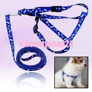 Adjustable Dog Pet Lead Pulling Harness Leash Rope Blue