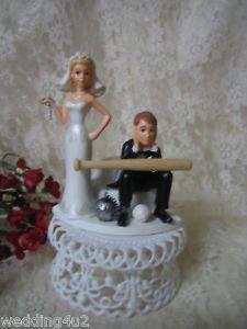 Humorous Wedding Baseball Bat Bride Groom Cake Topper