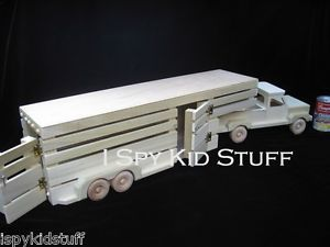 """Handmade Natural Amish Wooden Wood Toy Pickup Truck Horse Trailer Toy 33"""" Cool"""