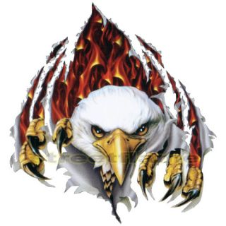 American USA Rip N Tear Eagle Flames Decal Hood Car Truck