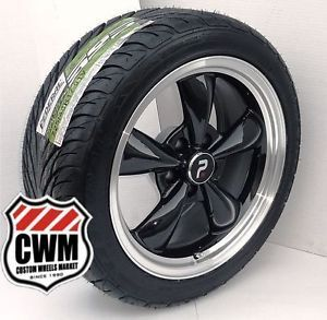 """17x8"""" Classic 5 Spoke Black Wheels Rims Federal Tires for Chevy Chevelle 1968"""