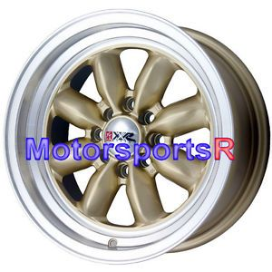 16 16x7 XXR 513 Gold Rims Wheels Deep Dish Step Lip 4x100 95 02 Honda Civic SI