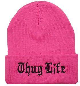 New Thug Life Cuffed Beanie Skull Cap Hat Hip Hop Cap Neon Pink