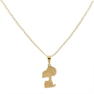 Gold Filled 18K Plain Snoopy Dog Cartoon Pendant Necklace Charm Chain Kids