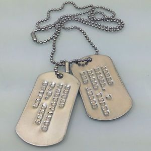 2 Custom Stamped Dog Tags ID Embossed Tag Engraved Necklace Luggage Pet Cat