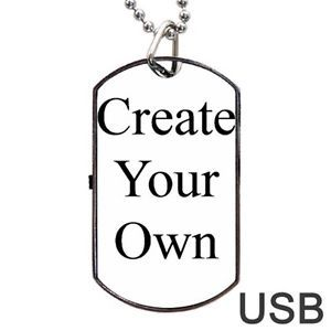 Create Your Own Personalized Dog Tag ID Necklace USB Flash 8GB