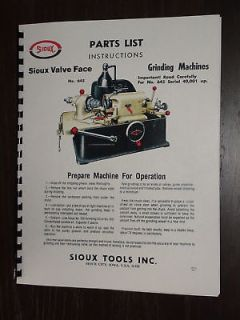 Sioux 645 Valve Grinder Manual Serial Number 40001 Up