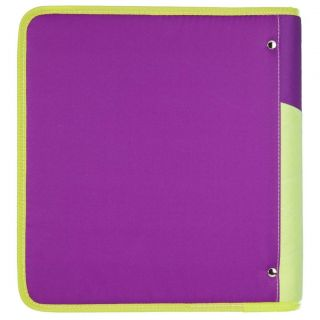 "Mead 2 inch 2 "" 3 Ring Coupon Binder with Pocket and Zipper Purple Brand New"