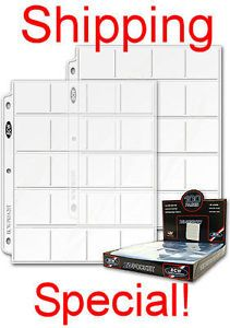 100 20 Pocket 2x2 Coin or Slide Page Sheet Protector PRO20T for 3 Ring Binders