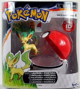 2013 Pokemon Clip 'N' Carry Poke Ball Leafeon Poke Ball w Pokedex ID Tags