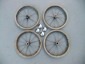 Four Antique Vintage Baby Stroller Carriage Pedal Car Wagon Wheels Hubcaps