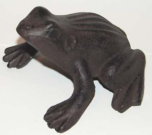 Wrought Cast Iron Metal Frog Figurine Animal Statue Home Garden Yard Pond Decor