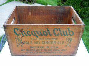 Clicquot Club Soda Beverages Antique Wood Crate Box Ginger Ale Millis MA