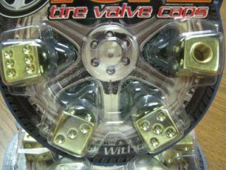 "4 All Gold ""Dice"" Valve Stem Caps Covers Cars Trucks Hot Rods Vans SUVs"