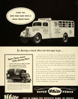 1941 Ad White Motor Co Truck Clicquot Club Beverages Ginger Ale Sparkling Ale