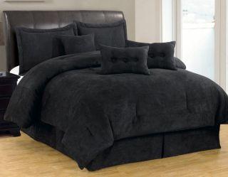 7 PC Solid Black Micro Suede Comforter Set Queen Size New C18265