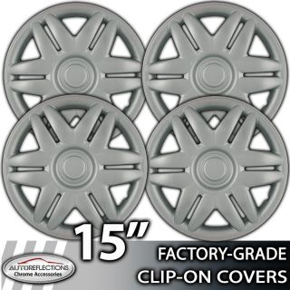 """1993 2005 Toyota Camry 15"""" Silver Clip on Hubcaps Wheel Covers"""