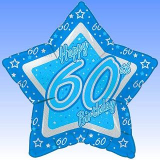 "18"" Happy 60th Birthday Blue Star Shaped Foil Balloon"