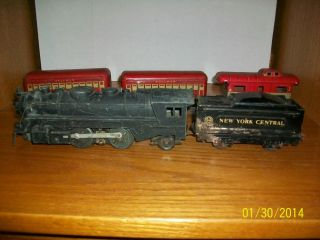 Vintage Marx Train Set Steam Engine 666 with Tender and Cars