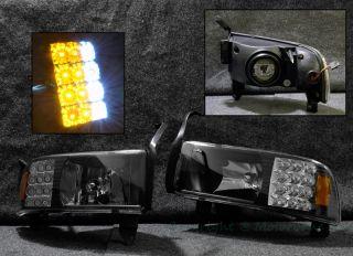 94 01 Dodge RAM Series Pickup Front Bumper Headlight LED Lamp Black Housing