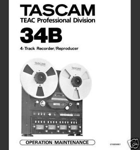 Tascam 34B Reel to Reel Maintenance Service Manual CD