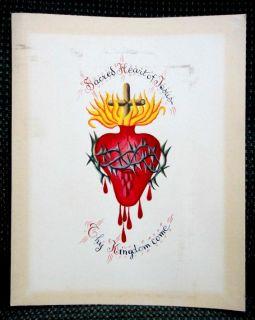 ♥♥antique Sacred Heart of Jesus Original Art Religious Vivid Color Catholic