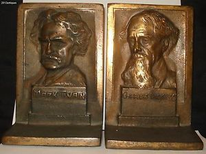 Very Nice Mark Twain Charles Dickens Bookends Cast Metal Antique Book End