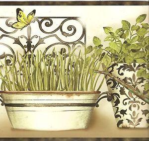 CKB77932B Kitchen Wallpaper Border Modern Herbs Butterflies Border Black Trim