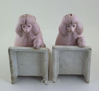 Pair of Cast Iron Pink French Poodle Dog Bookends Book Ends Ships Free