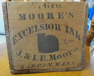 Antique Moore's J I E M Moore Warren Mass Igloo Turtle Ink Bottle Wooden Box