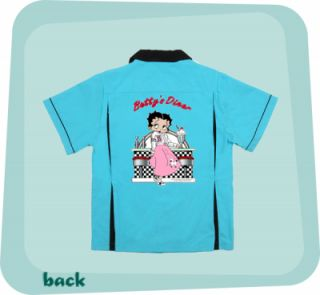 Betty Boop Diner Turquoise Blk Classic Retro Bowling Shirt Back Pleats Fun Art
