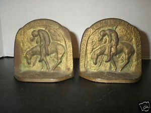 "1928 ""The Last Trail"" Metal Bookends Style 1 Swastikas Edges Connecticut Foundry"