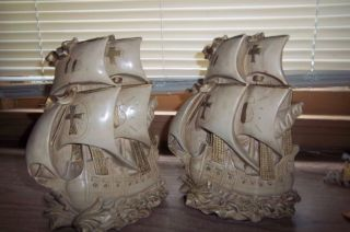 Vintage Columbus Ships Bookends Book Ends