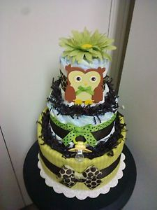 Green Brown Owl 3 Tier Diaper Cake Baby Shower Decoration Centerpiece