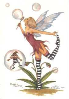 Amy Brown's Bubble Blunder Fairy Art Postcard 2004 Mint