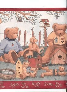 Country Teddy Bears and Birdhouses Red Trim Wallpaper Border