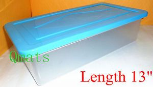 "Stackable 13"" Shoe Boxes Organizers Plastic Storage Containers Bins Case w Lids"