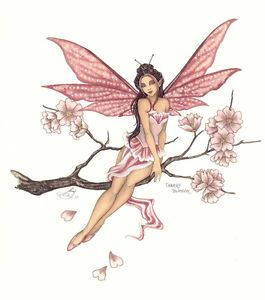 Amy Brown Print Fairy Cherry Blossom Pink Flower Faery