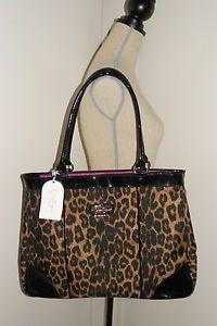 Jessica Simpson Leopard Business Tote Bag Large Purse Laptop Black Patent