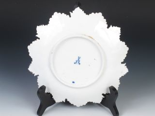 Antique Meissen Majolica Cobalt Blue Gold Four Seasons Leaf Plate