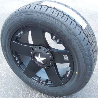 "20"" Black XD Rockstar Wheels Rims Falken STZ 05 Tires Tahoe GMC Yukon Escalade"