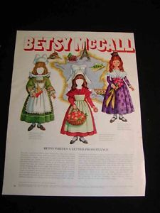 "Betsy McCall's Paper Doll Cutouts ""A Letter from France"