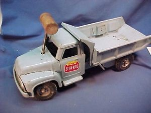 1950s Buddy L Pressed Steel Sit N Ride Toy Dump Truck No Seat