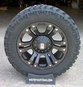 20x10 KMC XD Monster Black Nitto Trail Grappler LT305 55R20 Tires Chevy GMC 1500