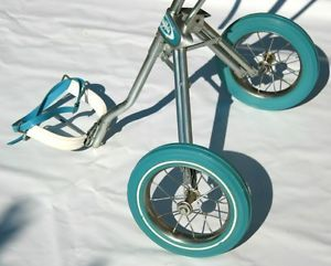 Vintage Golf Bag Caddy Cart Ajay Playmate Queen Push Pull Club Blue Ladies Women