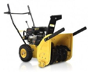 New bms JXS65EM Yellow 4 Cycle Dual Stage 6 5 HP Snow Blower w Snow Hog Tires