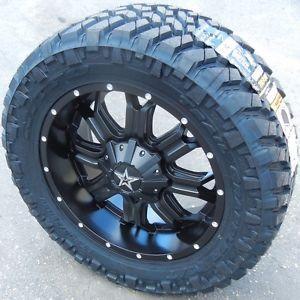 "20"" Black Tis 535B Wheels Rims Nitto Trail Tire Chevy Silverado GMC Sierra Titan"