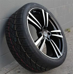 "22"" Porsche Cayenne Wheels and Tires Black Machine Face Nitto NT420 Tires"