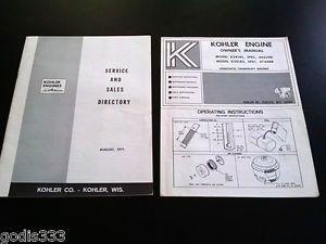 Vintage Kohler Engine Model K241AS K301AS Owner Manual Service Directory